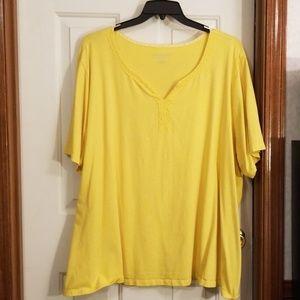 Catherines yellow supema v neck tee.  Size 5x